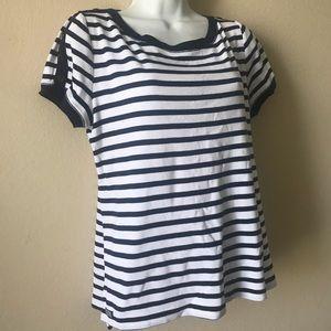 Ralph Lauren Blue White striped top, Size XL